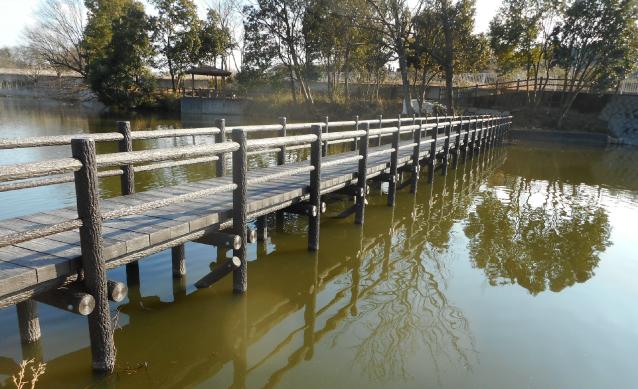 Waterside space type promenade deck, zigzag bridge