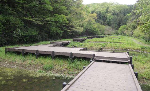 Waterside space type zigzag bridge